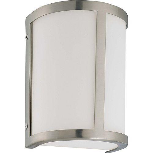 Lumière Glomar fixée au mur à une ampoule avec abat-jour blanc, Fini blanc