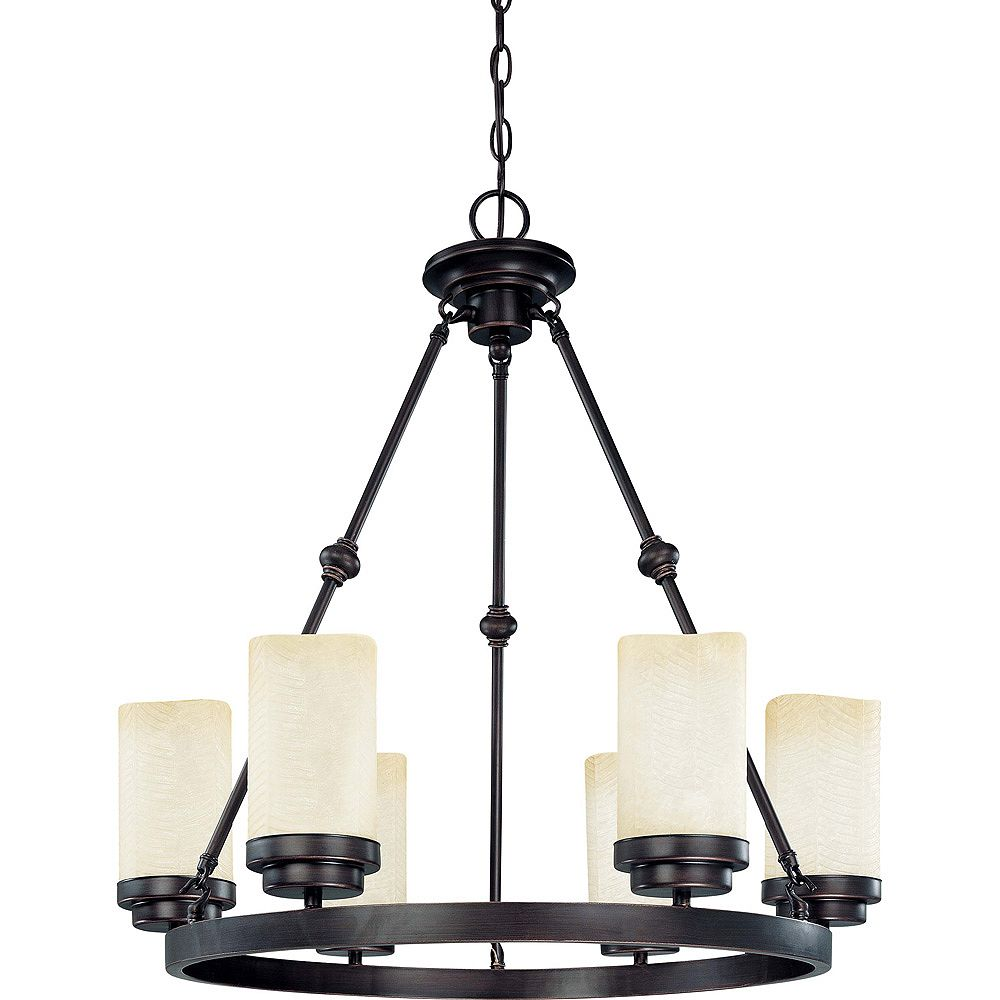Glomar Lucern  6-Light 26 Inch Oval Chandelierwith Saddle Stone Glass Finished in Patina Bronze