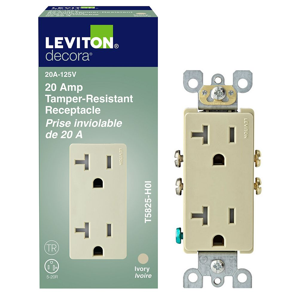 Leviton Decora Tamper Resistant Receptacle 20A, in Ivory