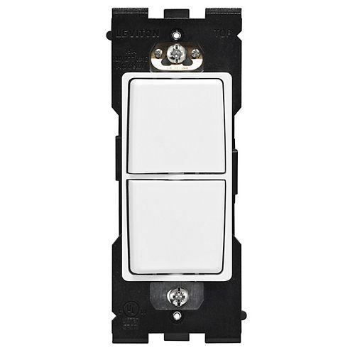 Leviton Interrupteur combiné (Plaque murale non-incluse) en Blanc