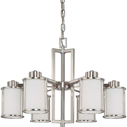 Odeon 6-Light Convertible Up/Down Chandelier with Satin White Glass Finished in Brushed Nickel