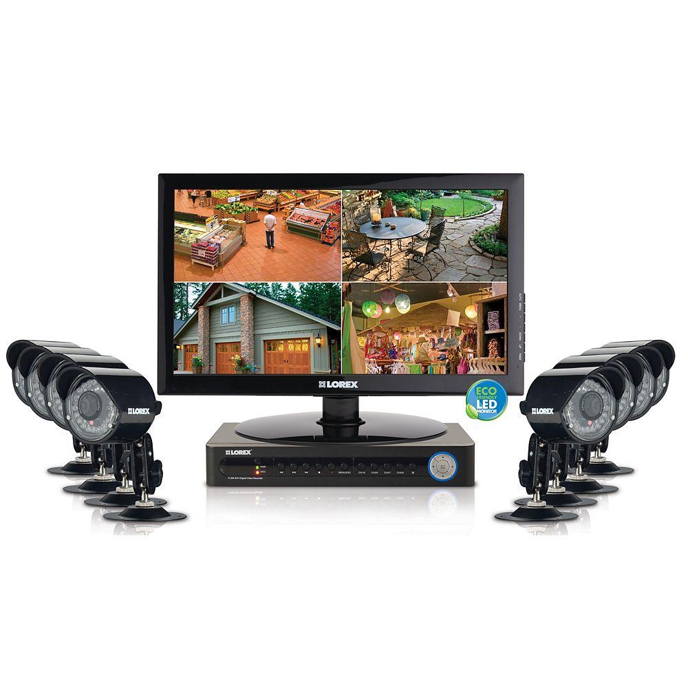 LOREX Enregistreur de surveillance numérique Vantage Eco à 8 canaux avec disque dur de 500 Go et 4 caméras à 480 lignes de résolution TV et écran à DEL de 18,5 po (VGA)