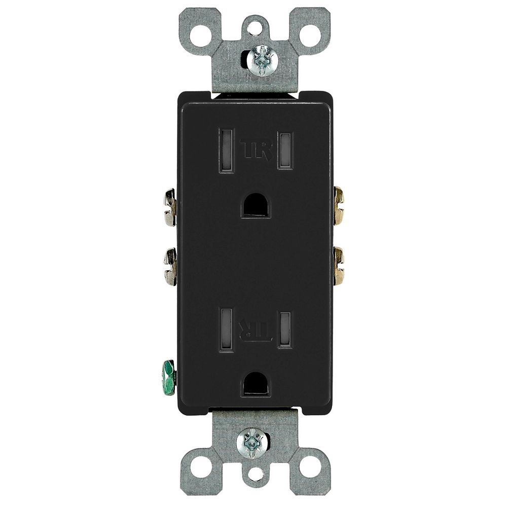 Leviton Decora Tamper Resistant Receptacle 15A, in Black