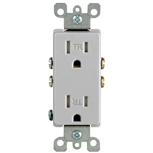 Leviton Decora Tamper Resistant Receptacle 15A, in Grey