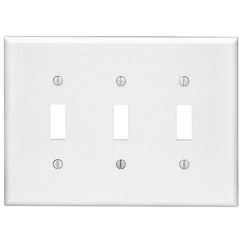 3-Gang Midway Nylon Toggle Switch wall plate, in White