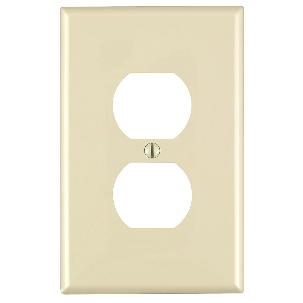 Leviton 1-Gang Midway Nylon Duplex Receptacle wall plate, in Ivory
