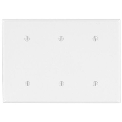 Plaque murale obturatrice de format intermédiaire en nylon pour trois dispositifs, en blanc