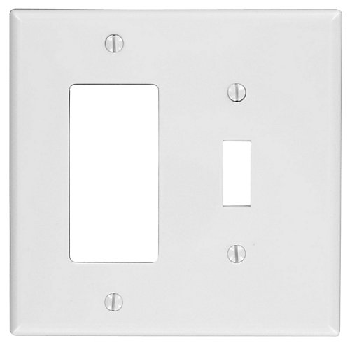 2-Gang Midway Nylon Combination Wallplate for 1 Toggle Switch & 1 Decora Device, in White