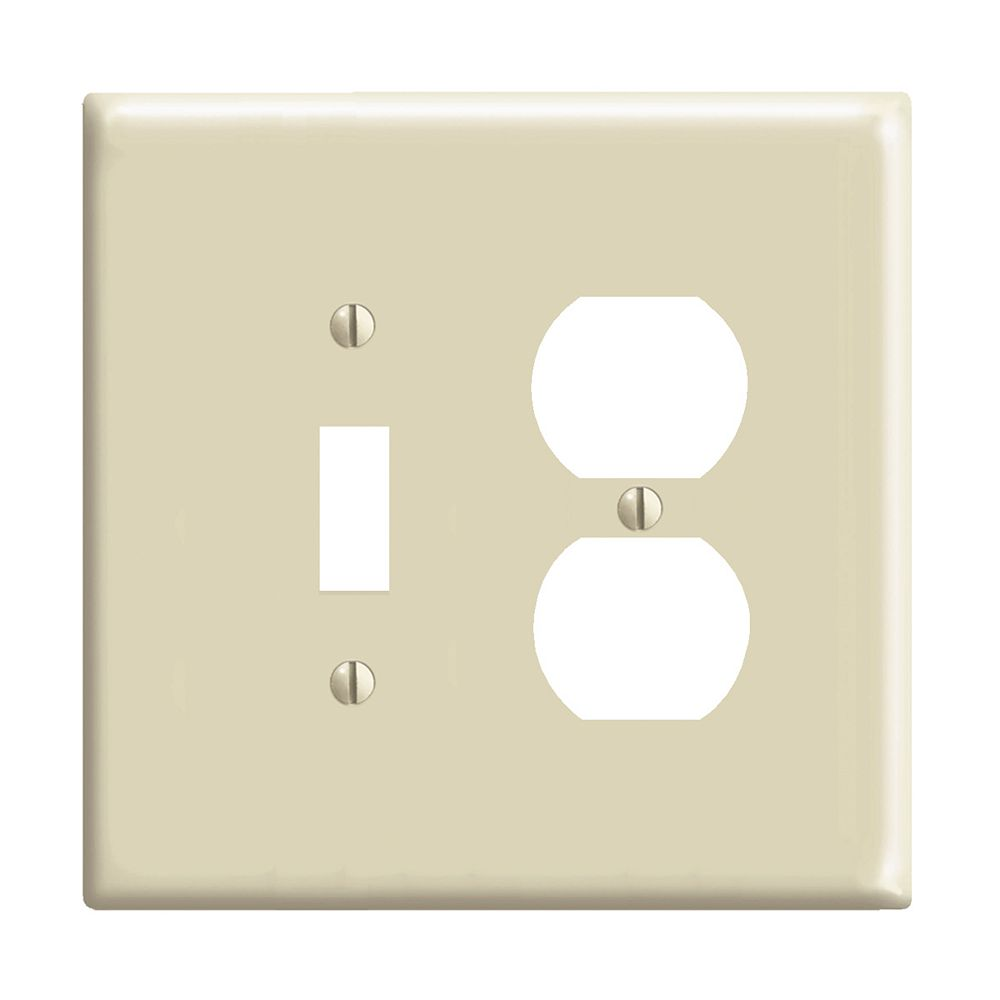 Leviton 2 Gang Midway Nylon Combination Wall Plate For 1 Toggle Switch 1 Duplex Receptac The Home Depot Canada
