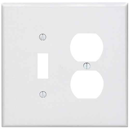 Leviton 2-Gang Midway Nylon Combination Wallplate for 1 Toggle Switch & 1 Duplex Receptacle, in White