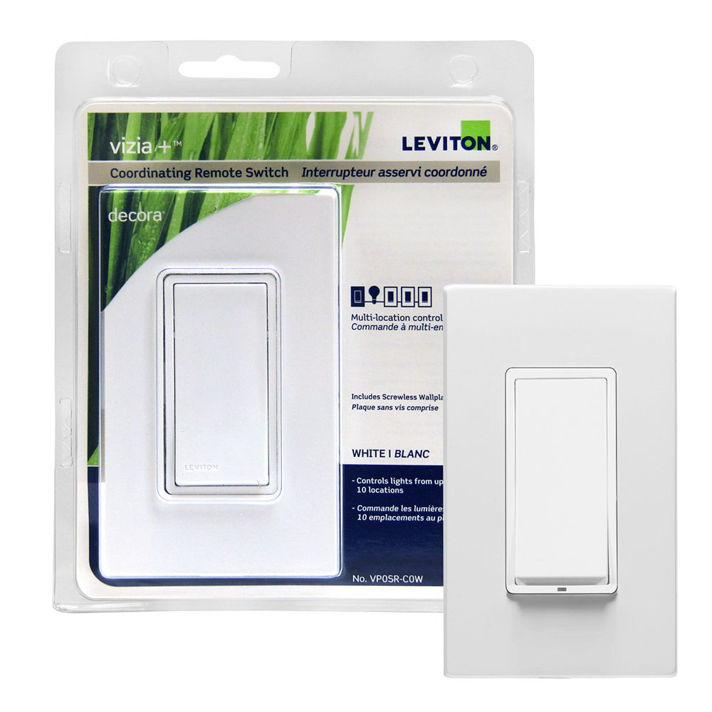 Leviton Vizia+ Coordinating Remote Switch for 3-Way or More Applications with Screwless Wallplate 120VAC, in White