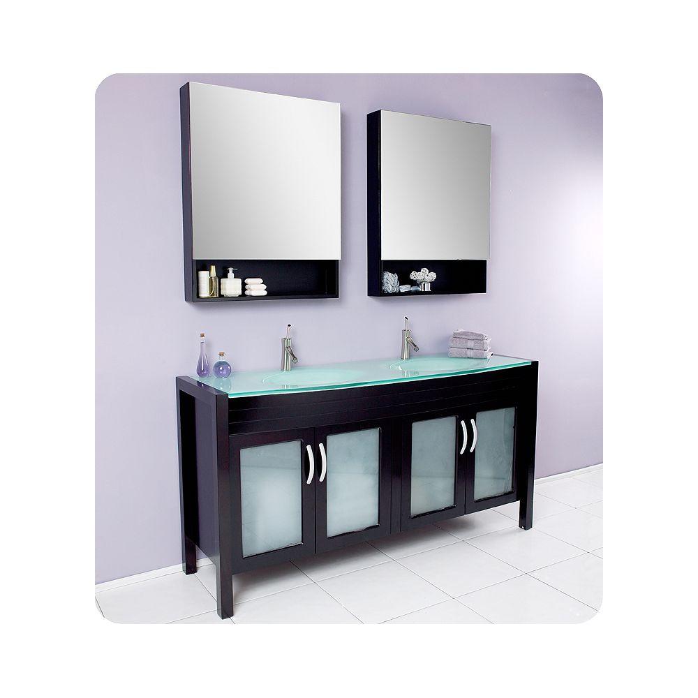 Fresca Infinito Meuble-lavabo de salle de bains moderne à double évier espresso avec armoires à pharmacie