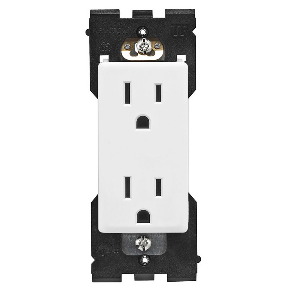 Leviton 15A Tamper Receptacle (Wallplate not Included) in White