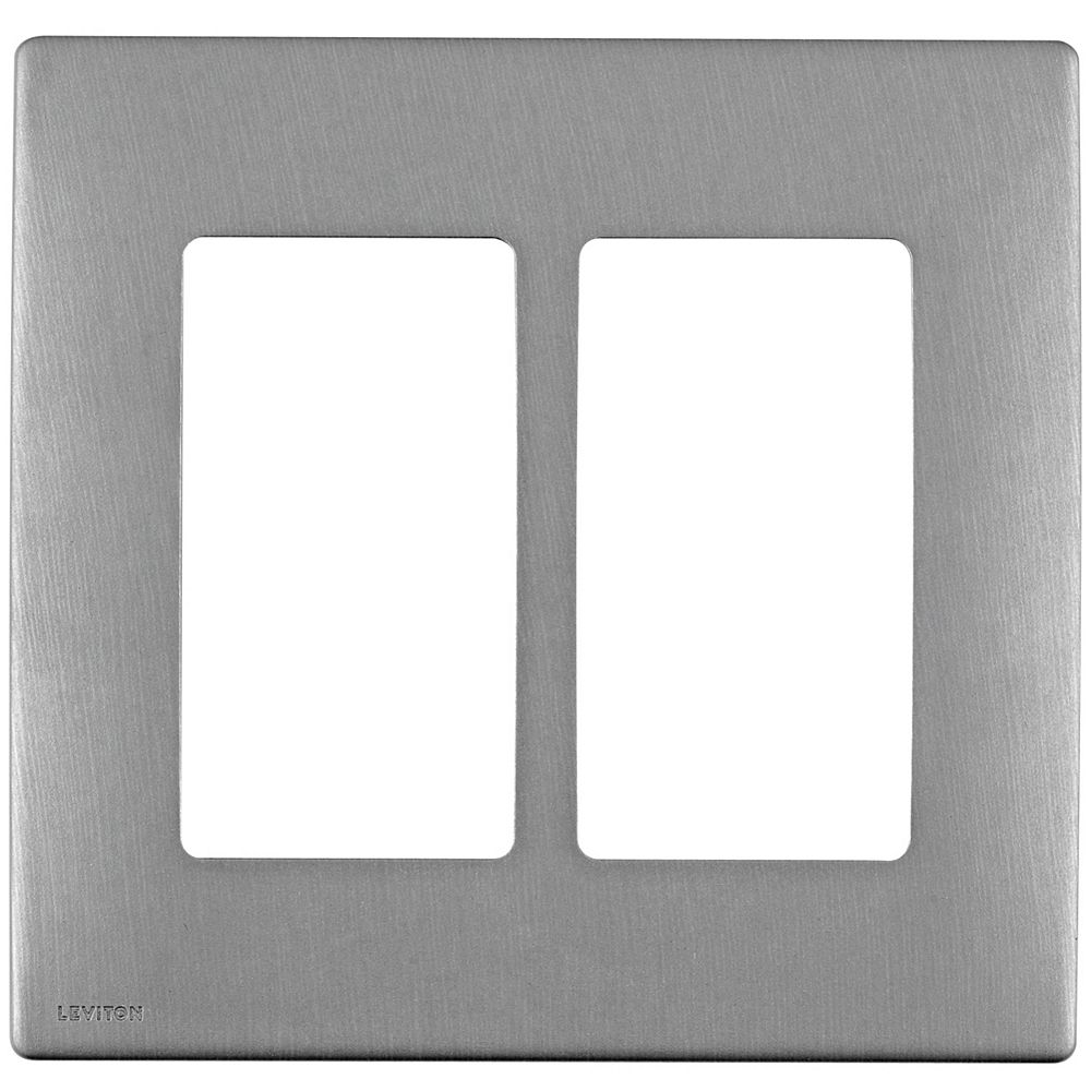 Leviton Leviton Renu 2-Gang Screwless Snap-On wall plate REWM2-STS, in Stainless Steel Style