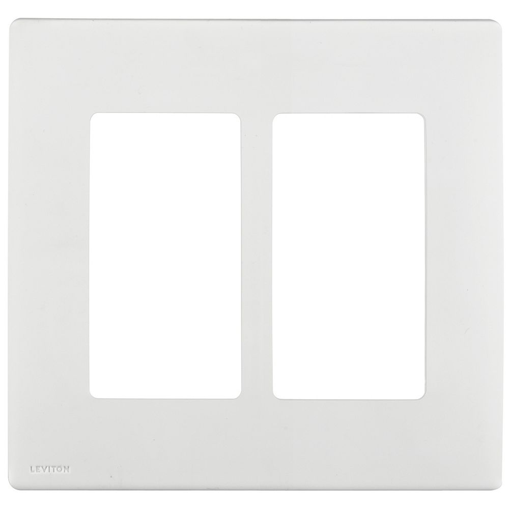 Leviton 2-Gang Screwless Wallplate in White