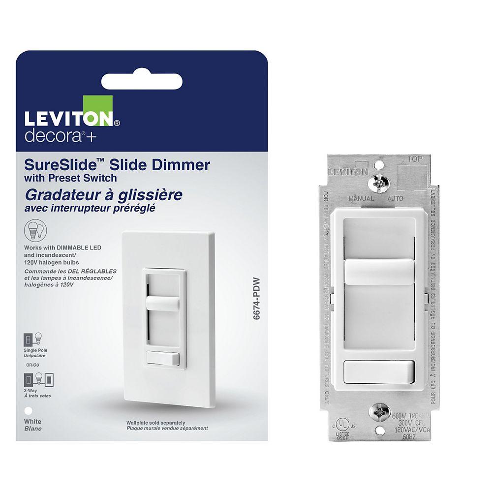 Leviton Gradateur à glissière universel, paquet d'1 pièce, blanc