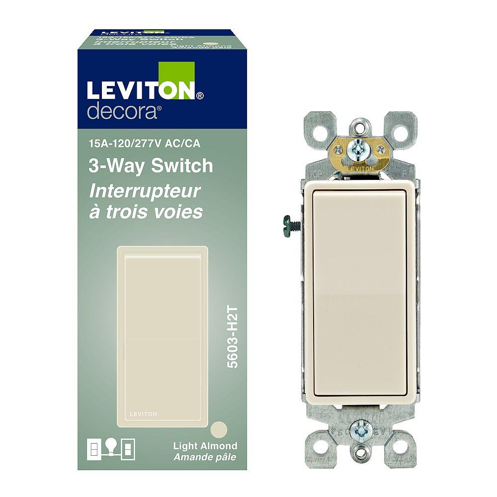 Leviton Decora Rocker Switch 3-Way 15A-120V, in Light Almond