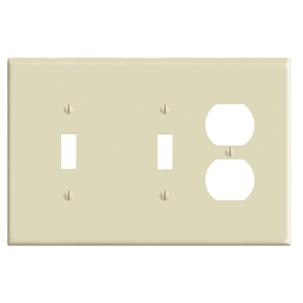 Leviton 3-Gang Midway Nylon Combination Wallplate for 2 Toggle Switches & 1 Duplex Receptacle, in Ivory