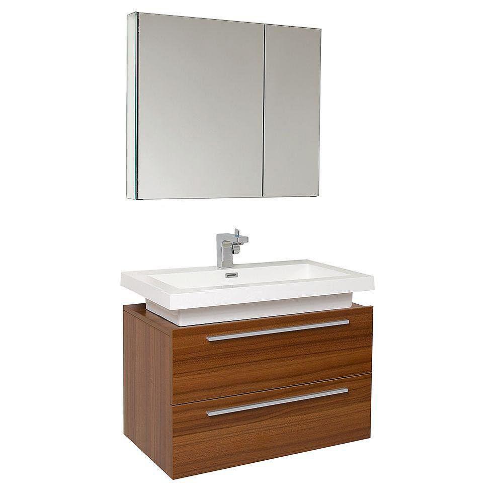 Fresca Medio Meuble-lavabo de salle de bains moderne teck avec armoire à pharmacie