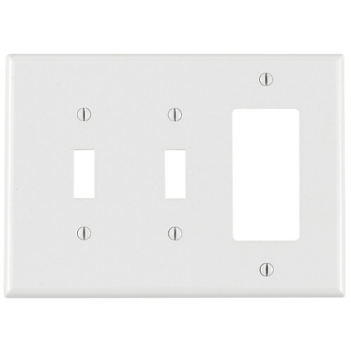 3-Gang Midway Nylon Combination Wallplate for 2 Toggle Switches & 1 Decora Device, in White