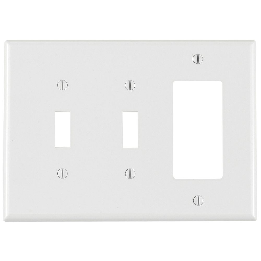 Leviton 3-Gang Midway Nylon Combination Wallplate for 2 Toggle Switches & 1 Decora Device, in White