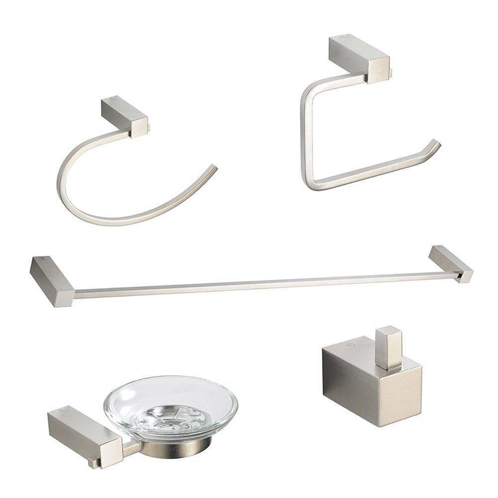 Fresca Ottimo Ensemble d'accessoires de salle de bains 5 pièces - Nickel brossé