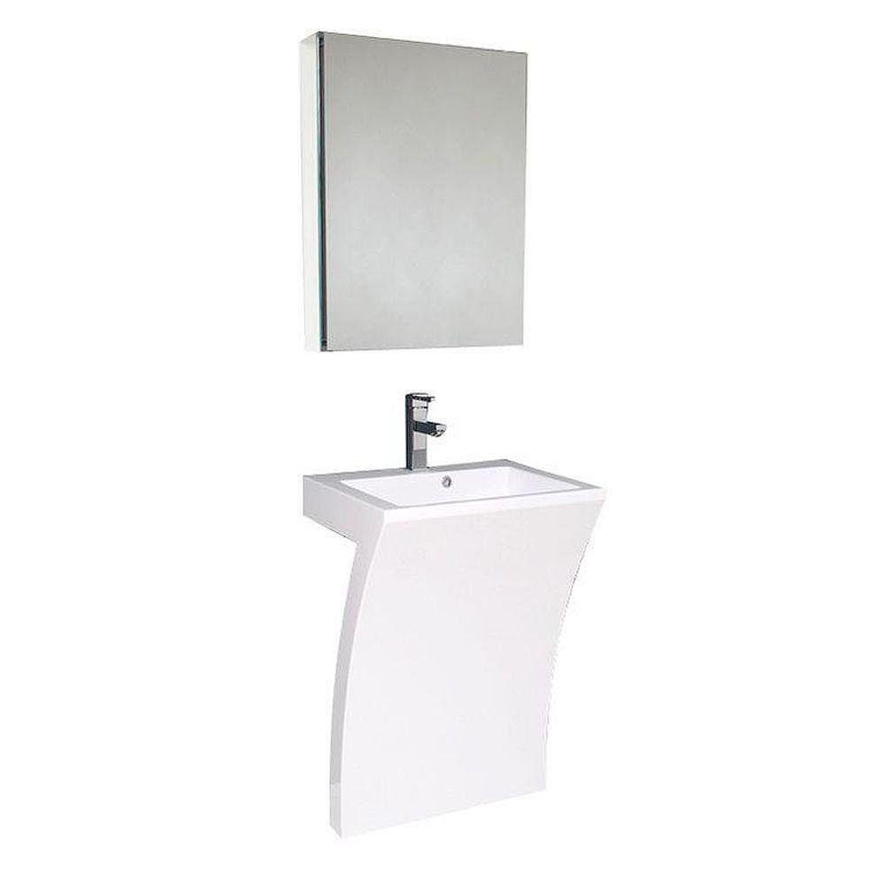 Fresca Quadro Évier piédestal blanc avec armoire à pharmacie - Meuble-lavabo de salle de bains  moderne