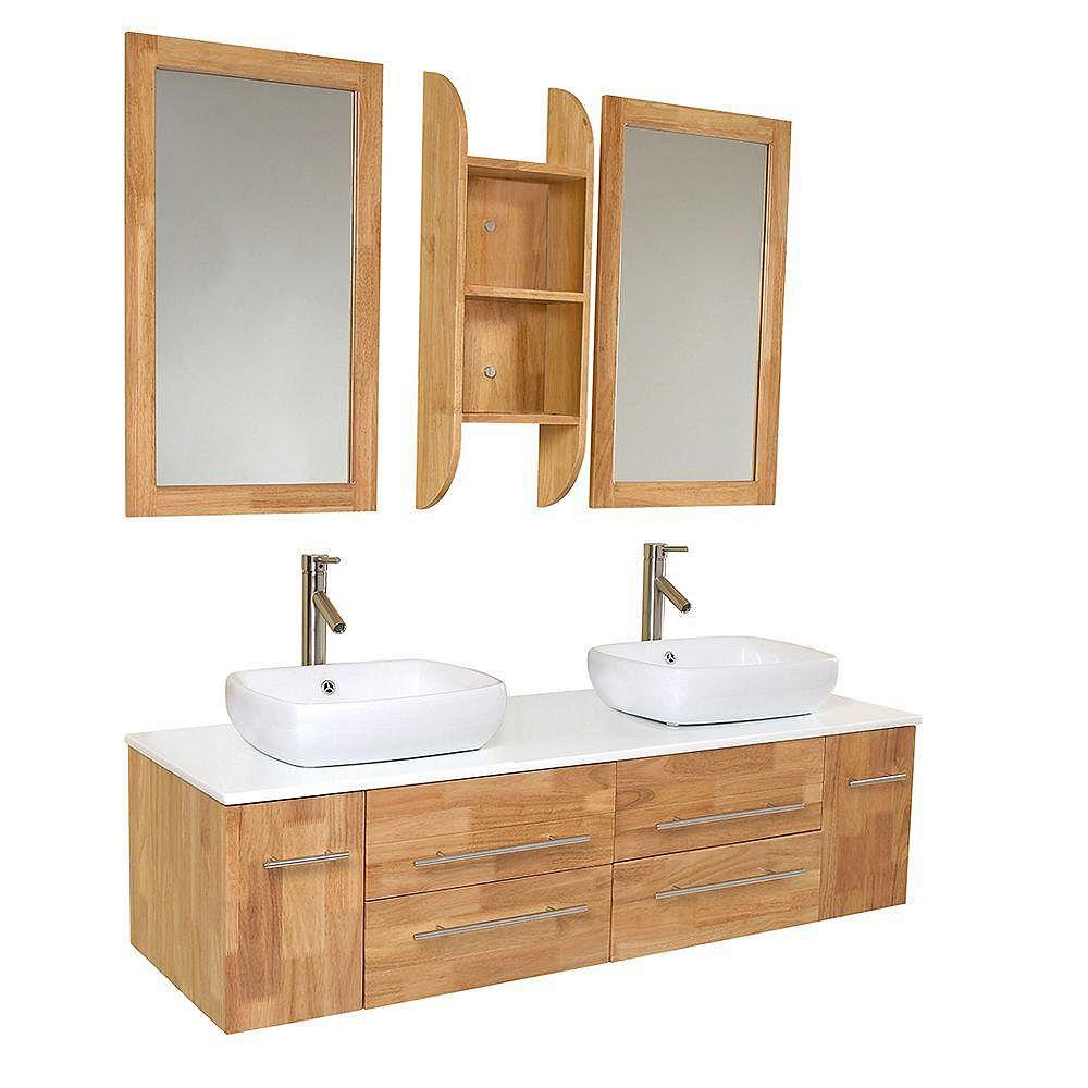 Fresca Bellezza Meuble-lavabo de salle de bains moderne à double lavabo vasque bois naturel