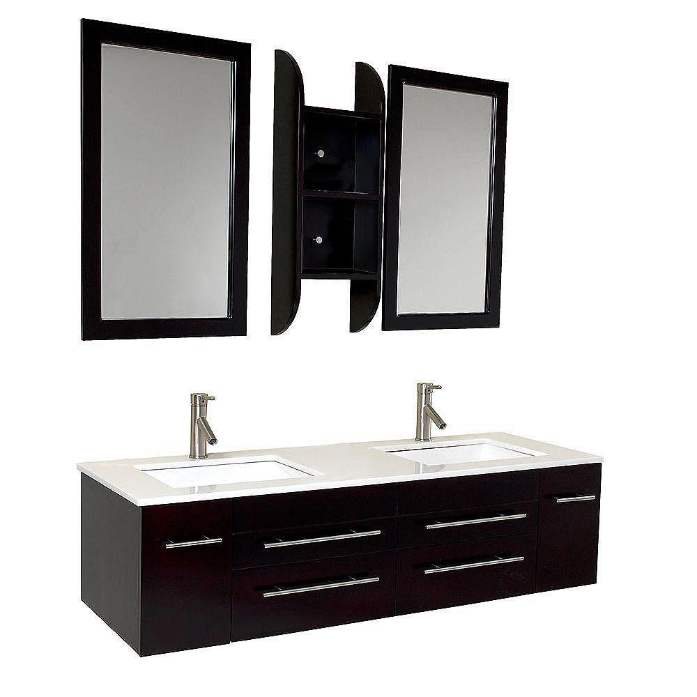 Fresca Bellezza Meuble-lavabo de salle de bains moderne à double évier espresso