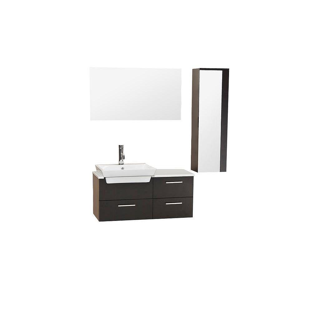 Fresca Caro Meuble-lavabo de salle de bains moderne espresso avec armoire latérale à miroir