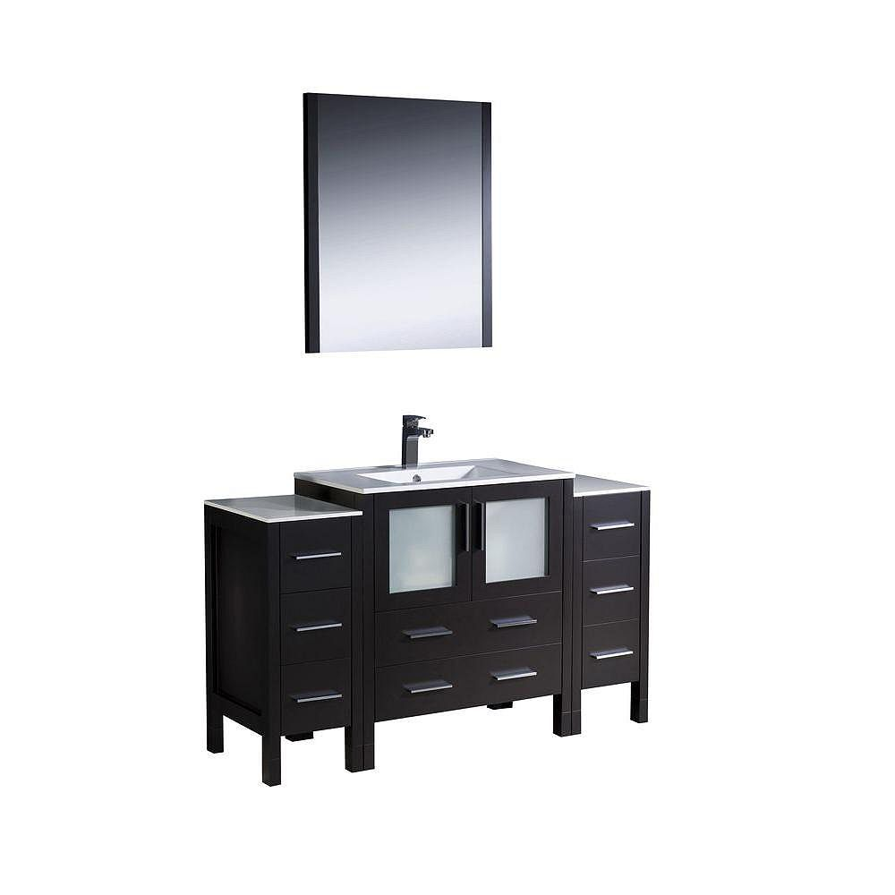 Fresca Torino 54-inch W 8-Drawer 4-Door Vanity in Black With Ceramic Top in White With Faucet And Mirror