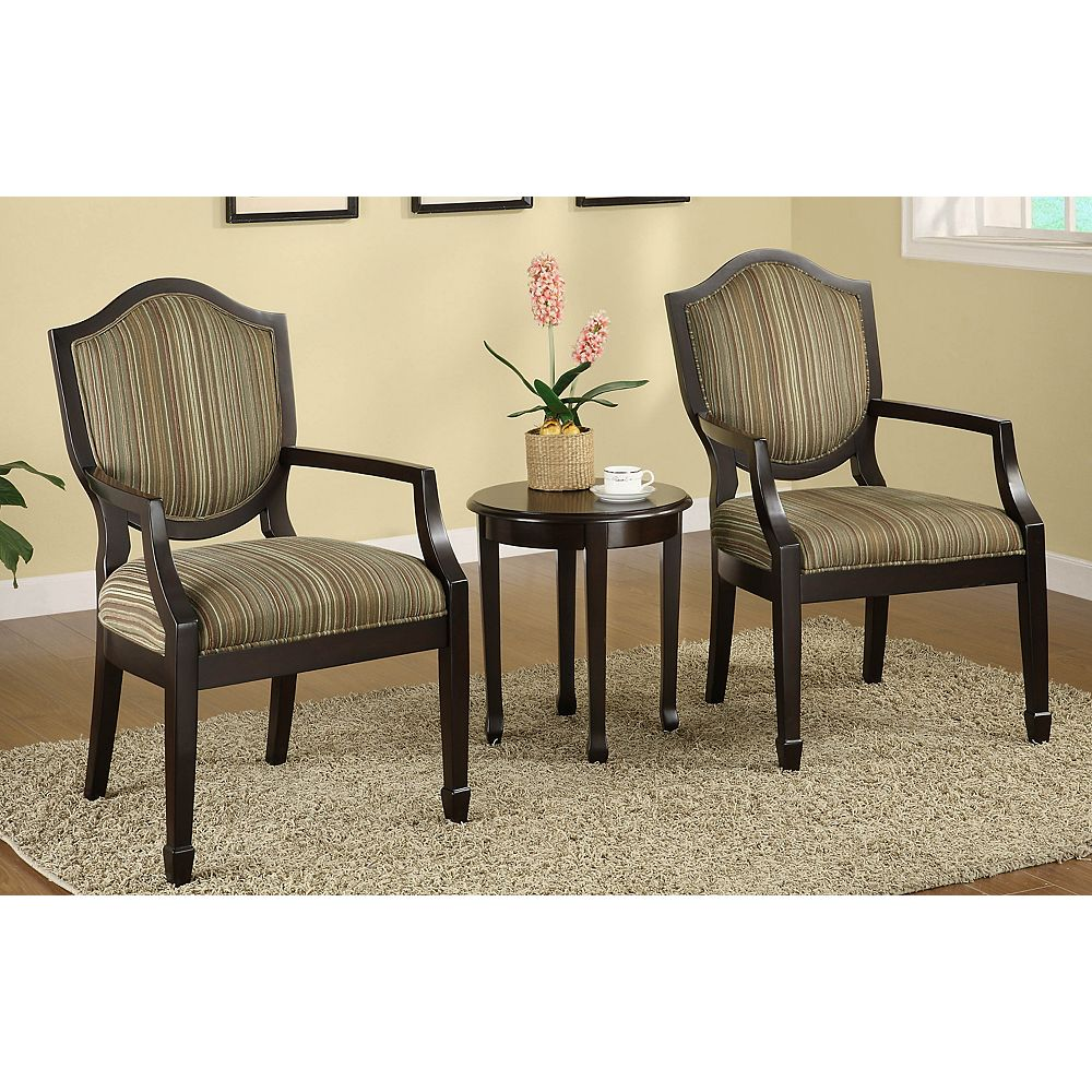 Worldwide Homefurnishings Inc. Cambridge Transitional Occasional Polyester Accent Chair in Brown with Striped Pattern