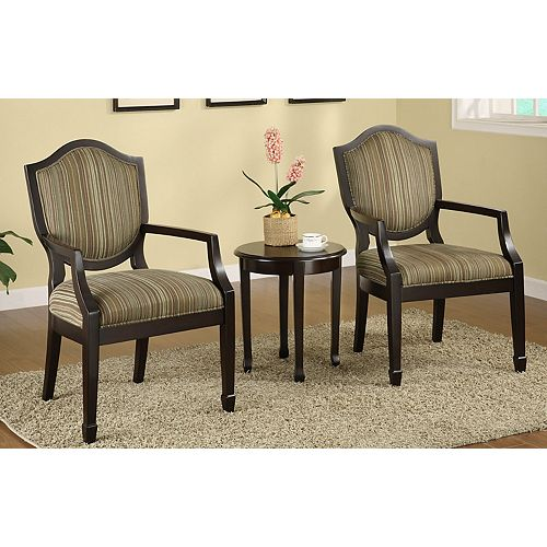 Cambridge Transitional Occasional Polyester Accent Chair in Brown with Striped Pattern