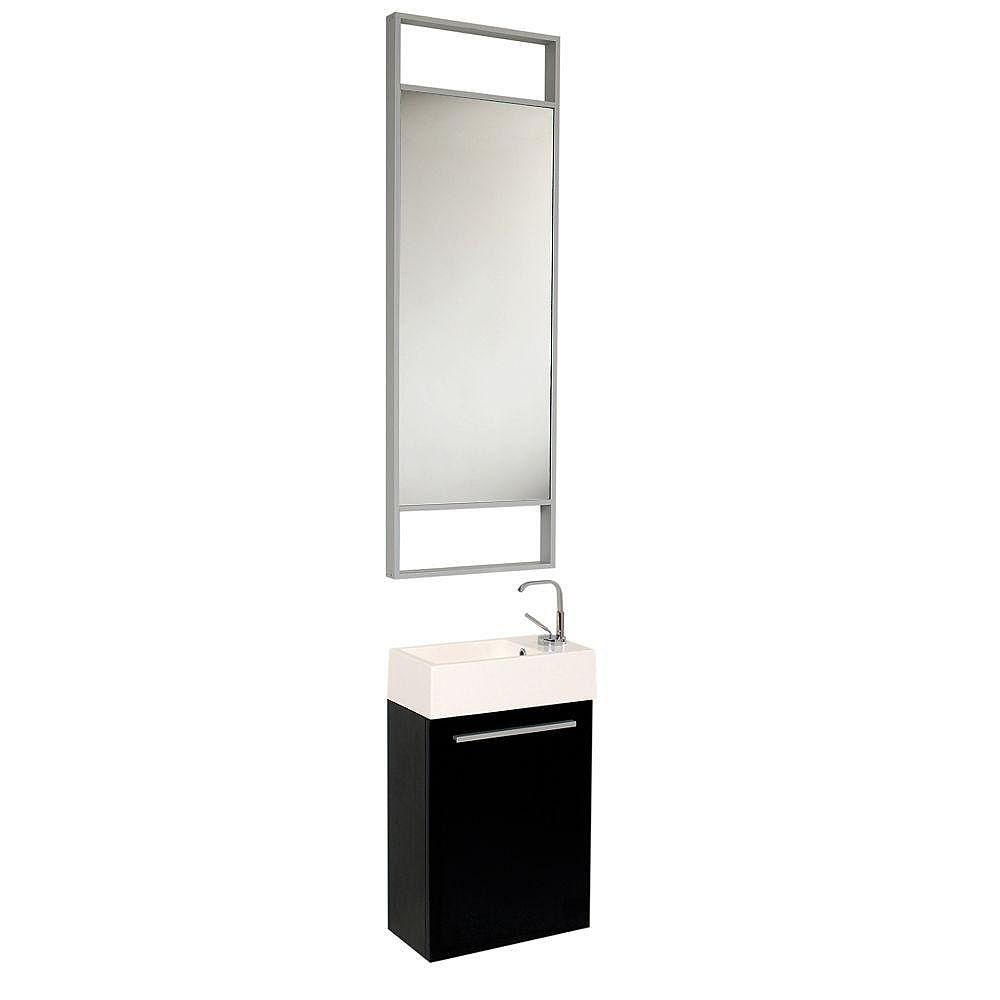 Fresca Pulito 15.5-inch W 1-Door Wall Mounted Vanity in Black With Acrylic Top in White
