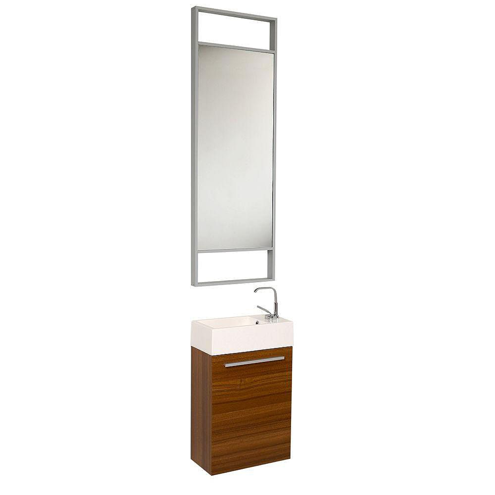 Fresca Pulito petit meuble-lavabo de salle de bains moderne teck avec grand miroir