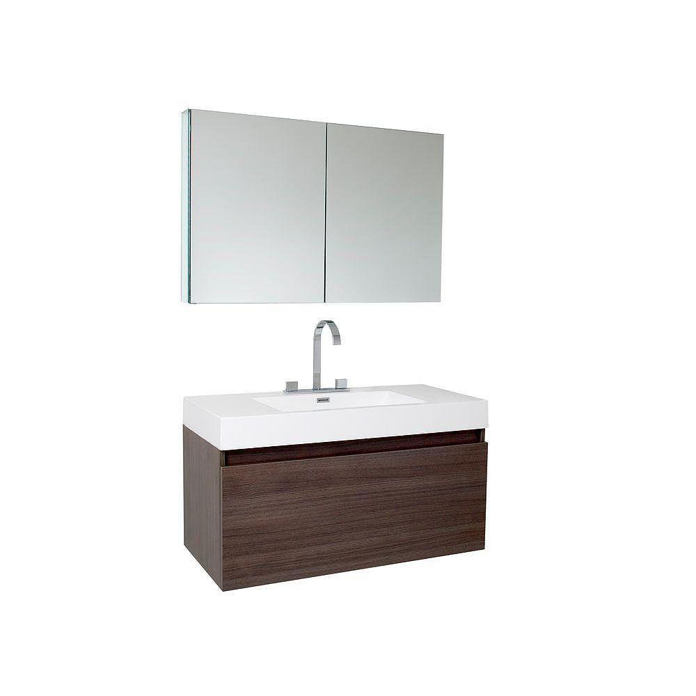 Fresca Mezzo Meuble-lavabo de salle de bains moderne chêne gris avec armoire à pharmacie