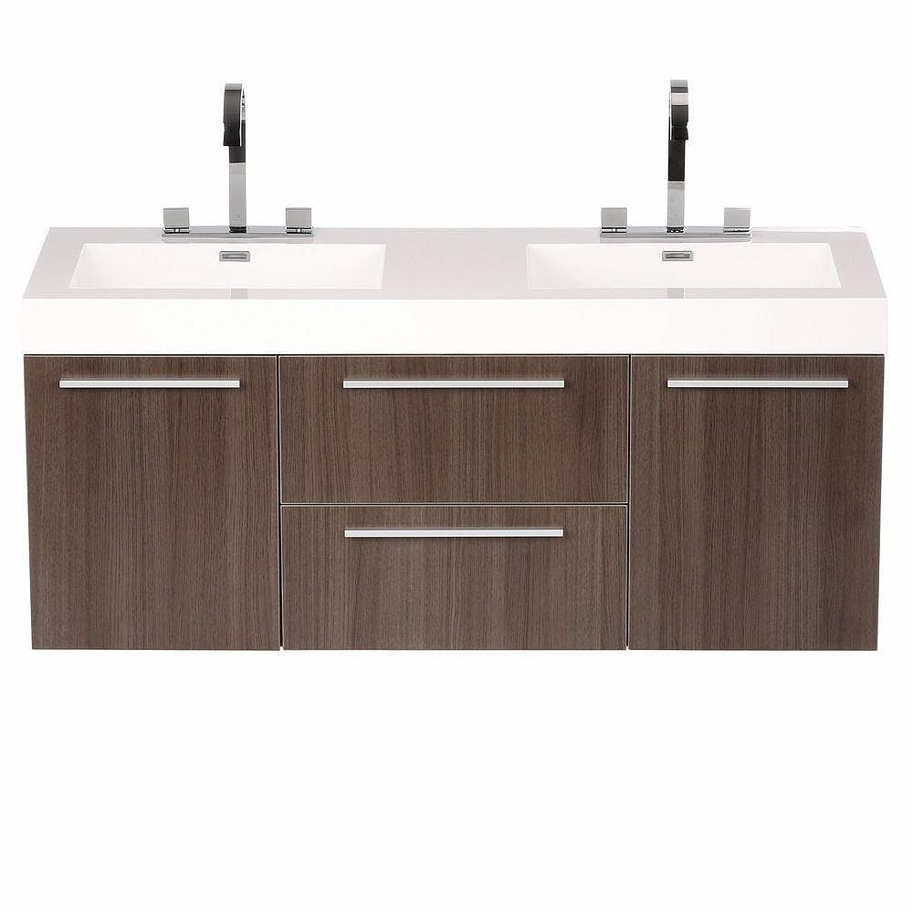 Fresca Opulento 54 Inch Double Vanity In Grey Oak With Acrylic Top In White With White Bas The Home Depot Canada