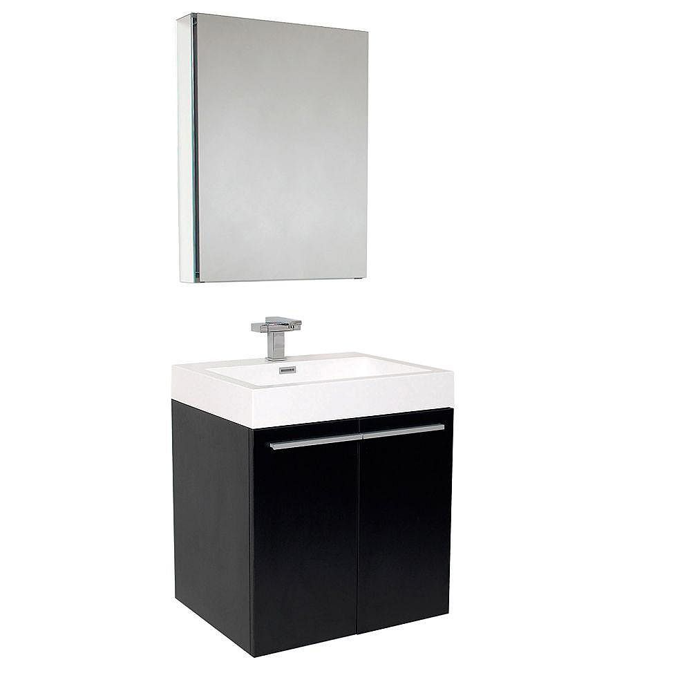Fresca Alto Meuble-lavabo de salle de bains moderne noir avec armoire à pharmacie