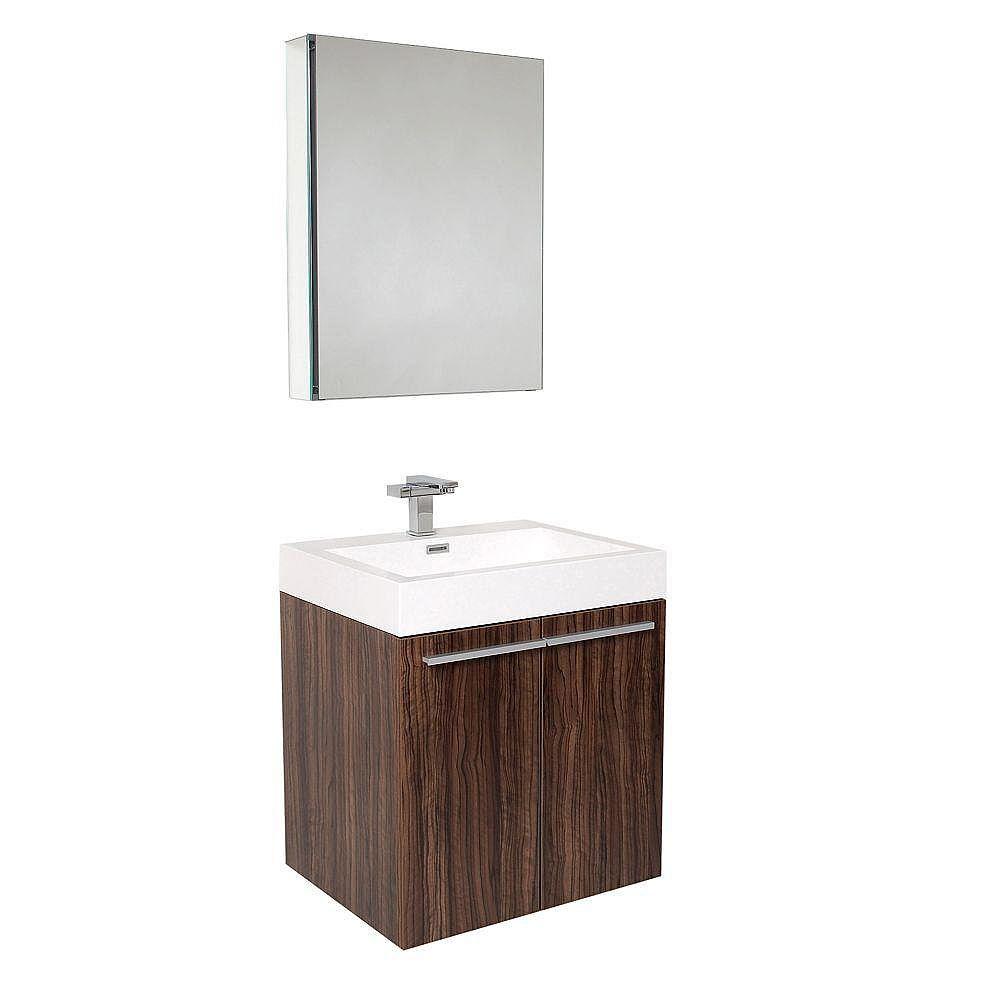 Fresca Alto Meuble-lavabo de salle de bains moderne noyer avec armoire à pharmacie