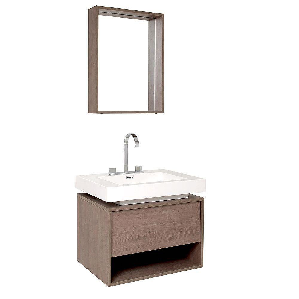 Fresca Potenza Meuble-lavabo de salle de bains moderne chêne gris avec tiroir à ouverture automatique