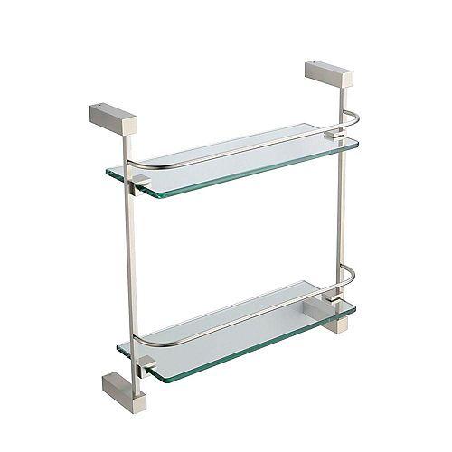 Ottimo 2 Tier Glass Shelf - Brushed Nickel