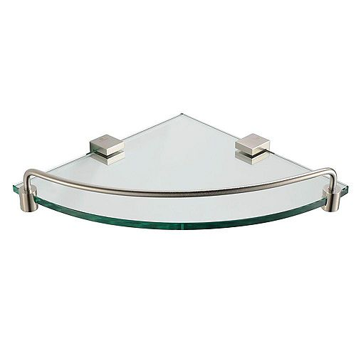 Ottimo Glass Corner Shelf in Brushed Nickel
