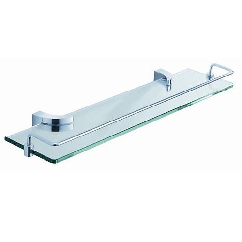 20 Inch Glass Shelf With Railing - Chrome