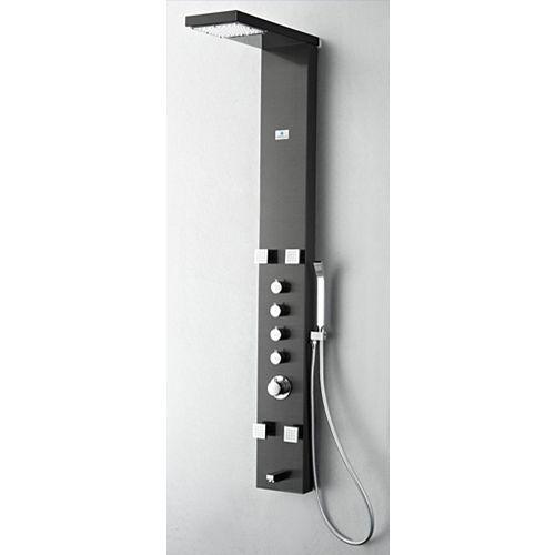 Verona Panneau de douche massage thermostatique acier inoxydable (gris brossé)