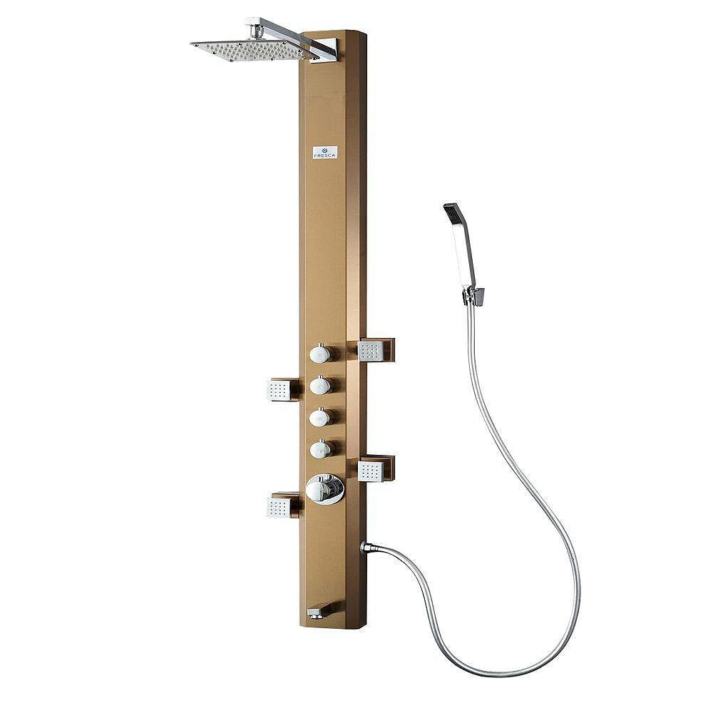 Fresca Prato Panneau de douche massage thermostatique acier inoxydable (bronze brossé)
