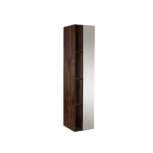 Walnut Bathroom Linen Side Cabinet With 4 Cubby Holes And Mirror