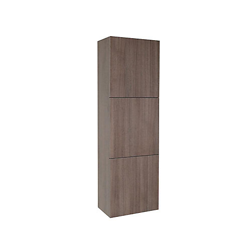 Gray Oak Bathroom Linen Side Cabinet With 3 Large Storage Areas