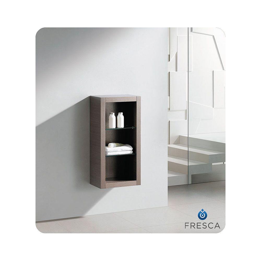 Fresca Armoire à linge latérale de salle de bain chêne gris avec 2 tablettes de verre