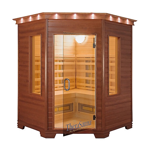 3-Person Corner Infrared Sauna with MPS Control, Aspen Wood and 12 Heaters