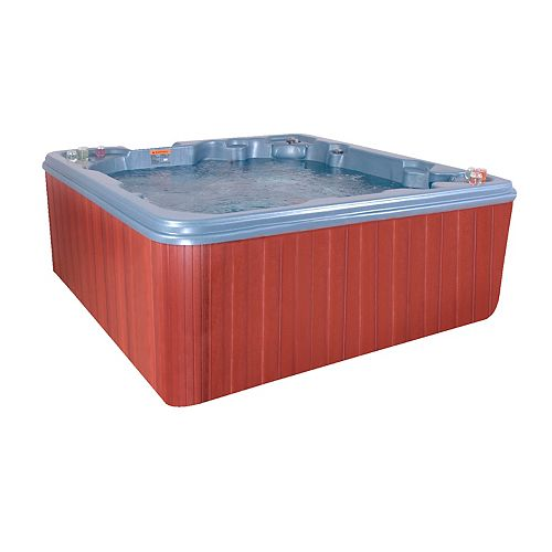 """Sarasota Blue Denim """"Plug N Play""""  7 Person Non Lounging Spa with 1.5 HP Pump, 26 jets, Weather Guard Cabinet and Hard Cover"""